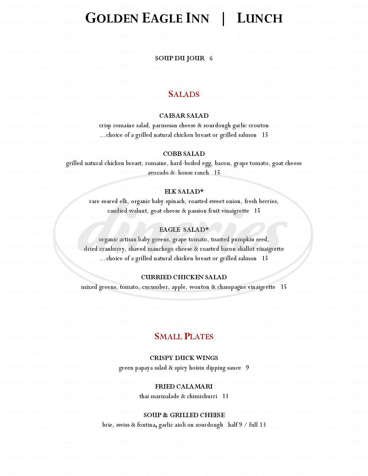 menu for The Golden Eagle Inn Restaurant