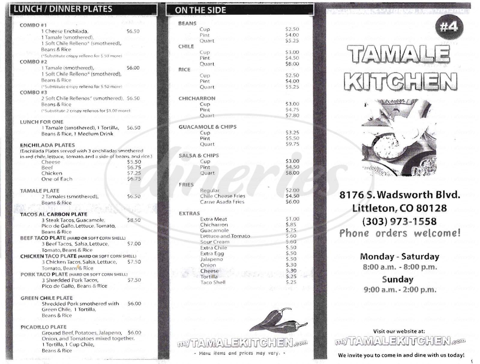 menu for Tamale Kitchen