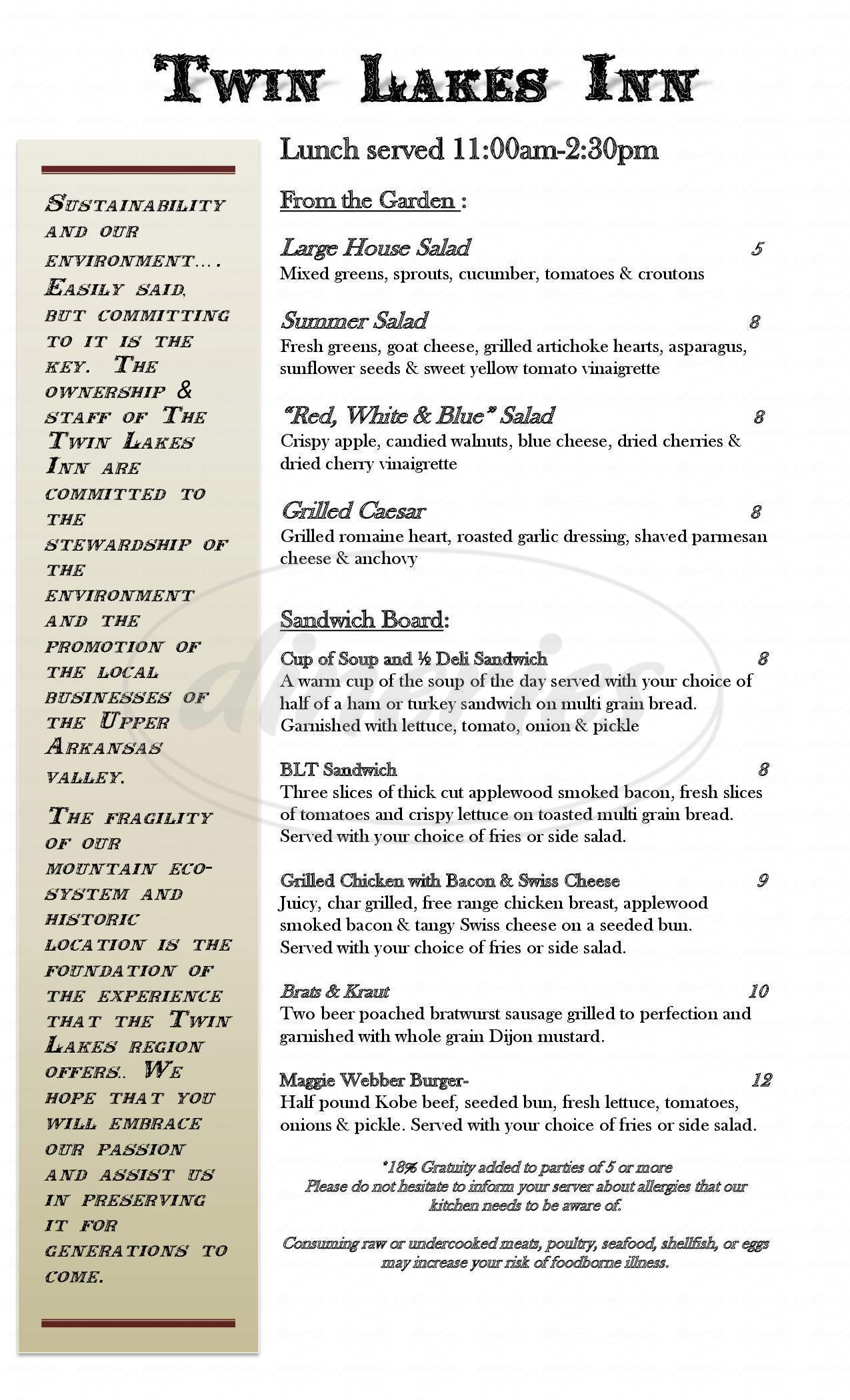 menu for The Twin Lakes Inn
