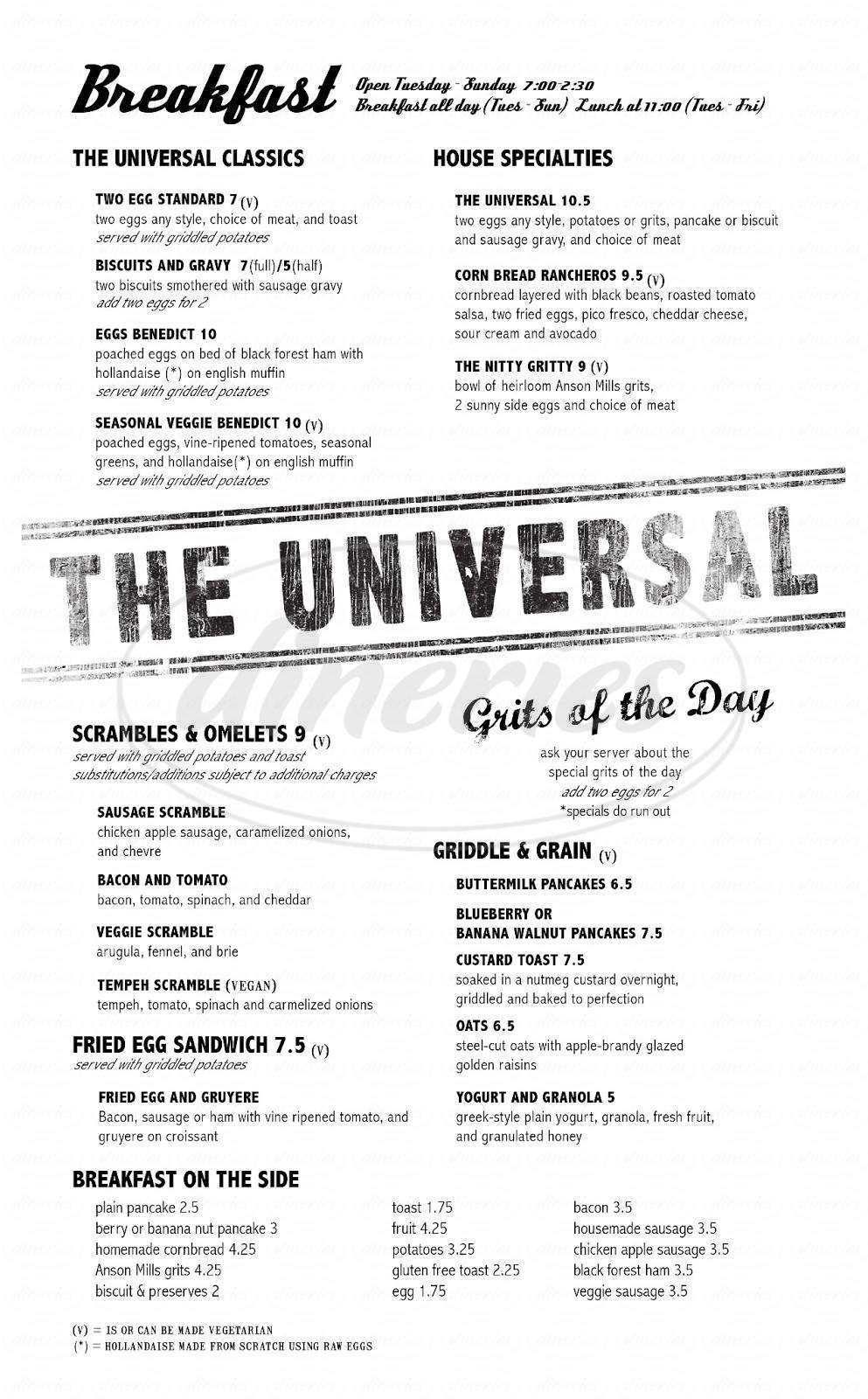 menu for The Universal