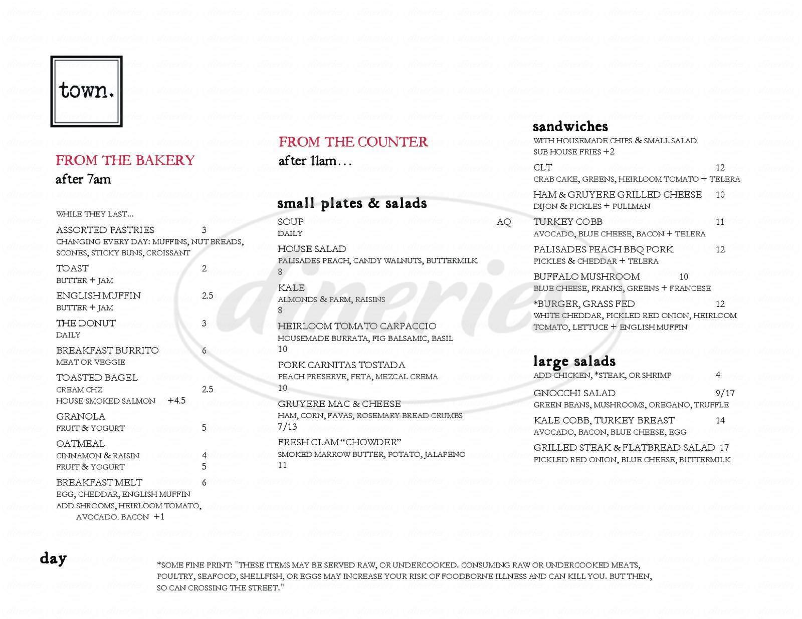 menu for Town.