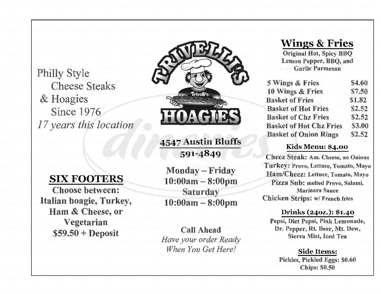 menu for Trivelli's Hoagies