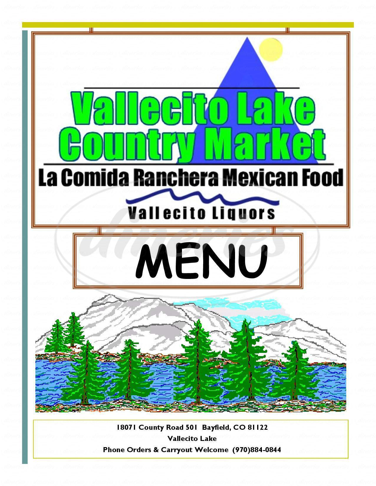 menu for Vallecito Lake Country Market