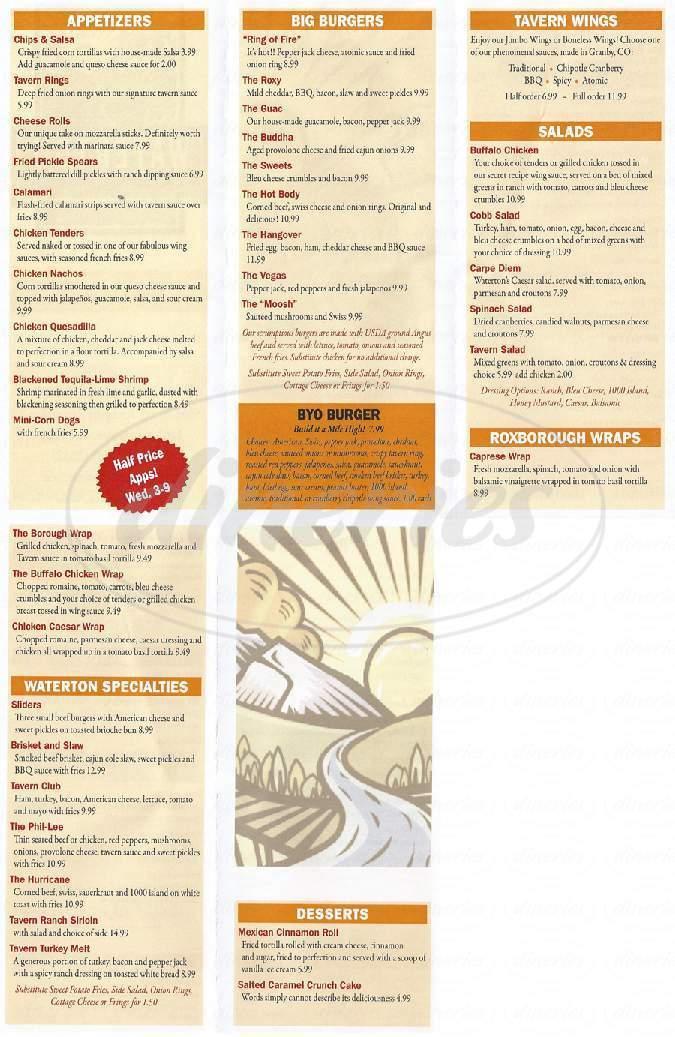 menu for Waterton Tavern