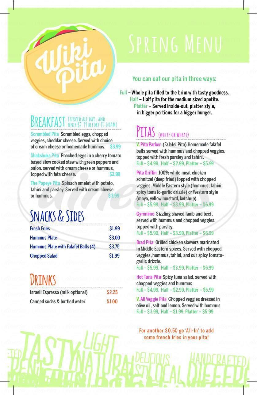 menu for Wikipita