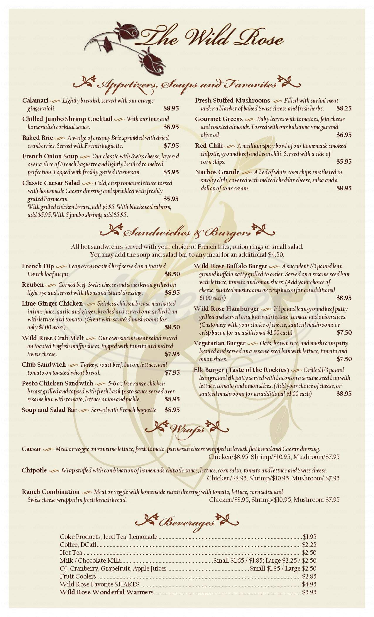 menu for Wild Rose Food & Spirits