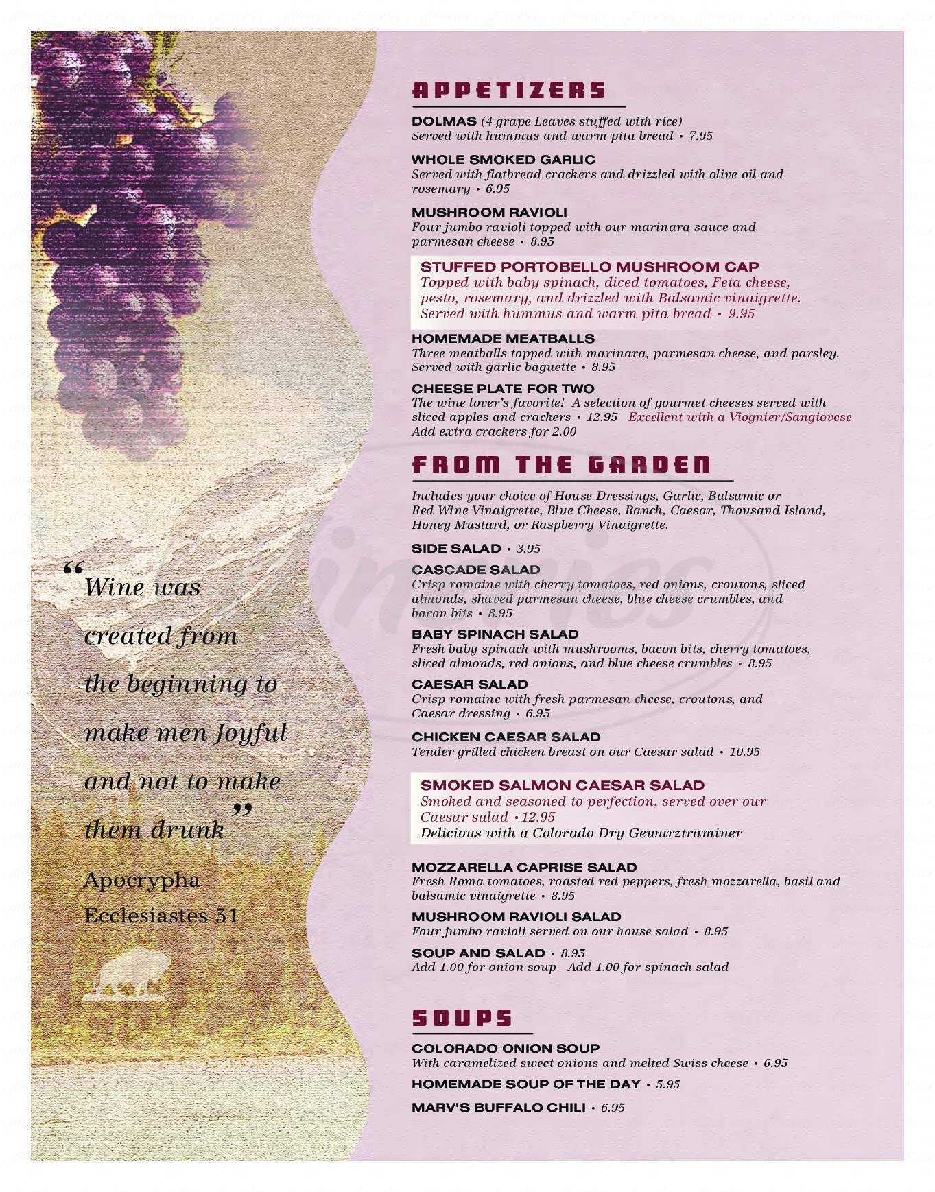 menu for The Wines of Colorado