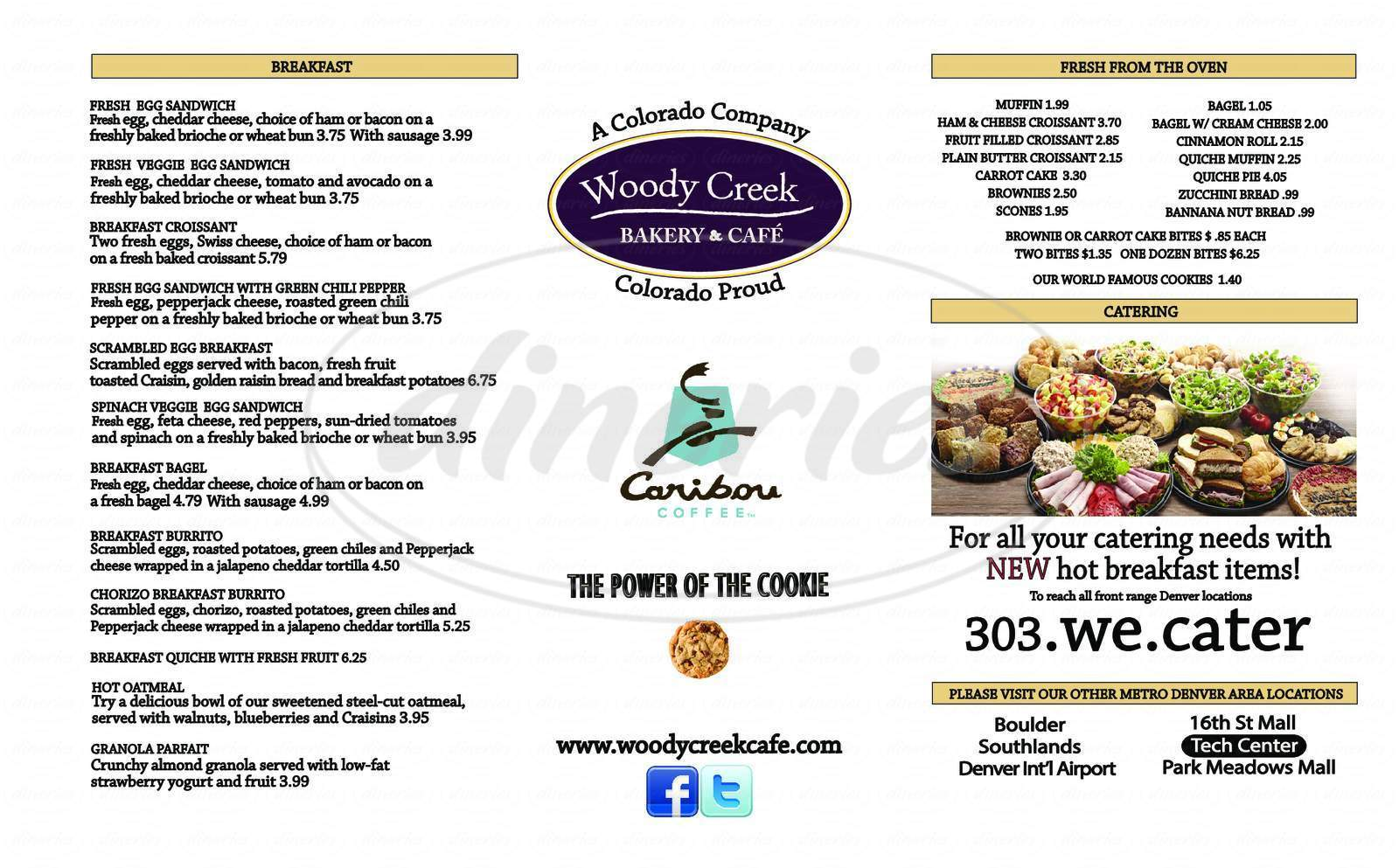 menu for Woody Creek Bakery and Cafe