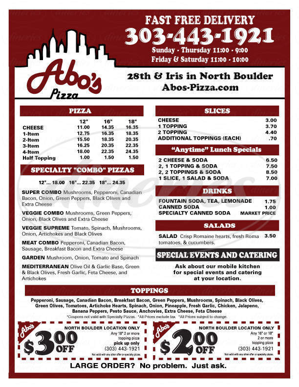 menu for Abo's Pizza