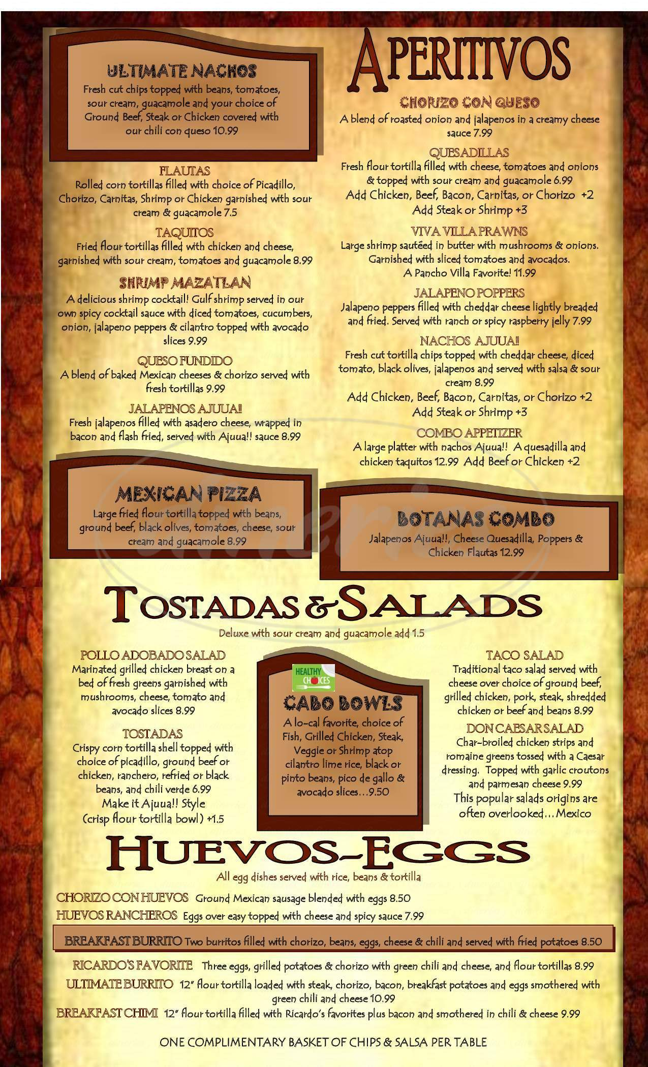 menu for Ajuua Mexican Restaurant