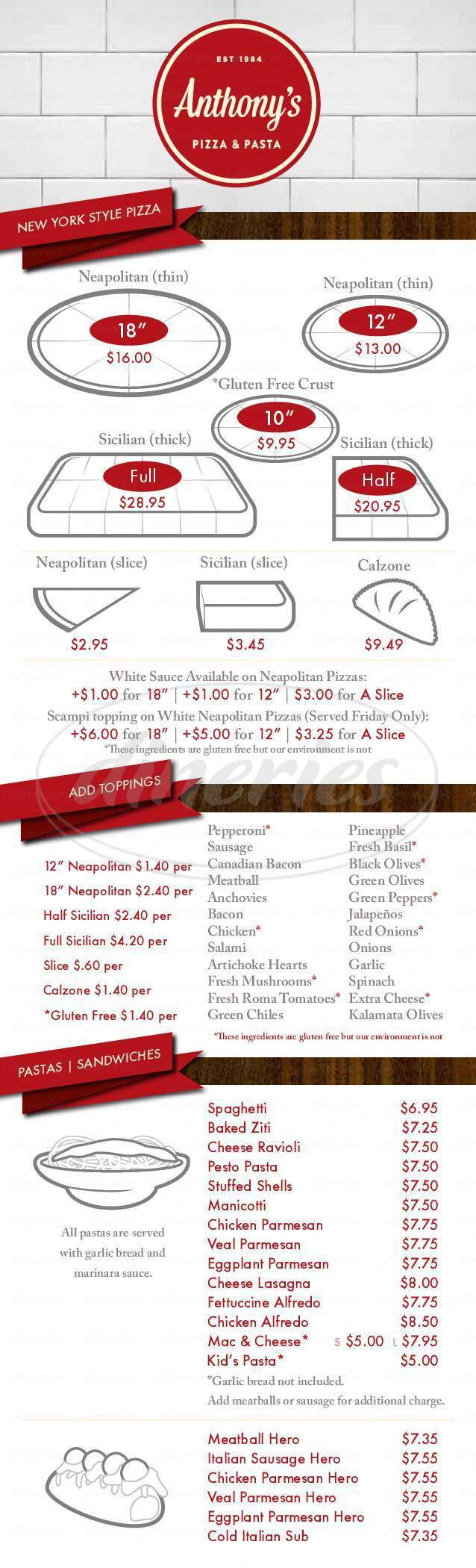 menu for Anthony's Pizza & Pasta