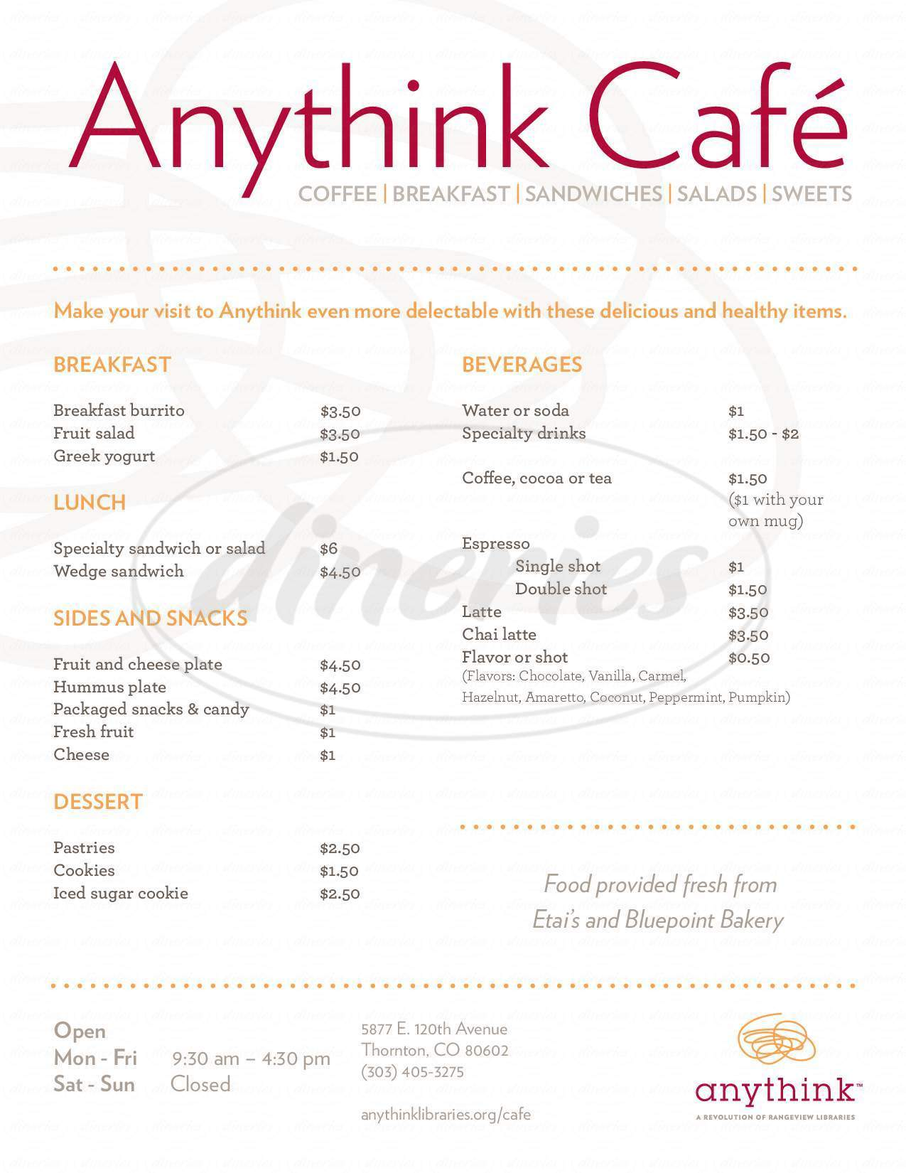 menu for Anythink Cafe