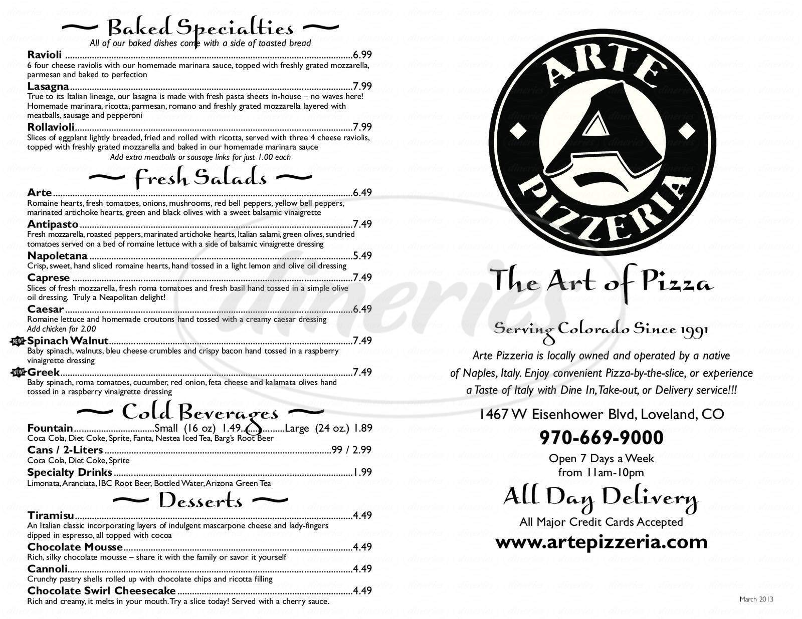 menu for Arte Pizzeria