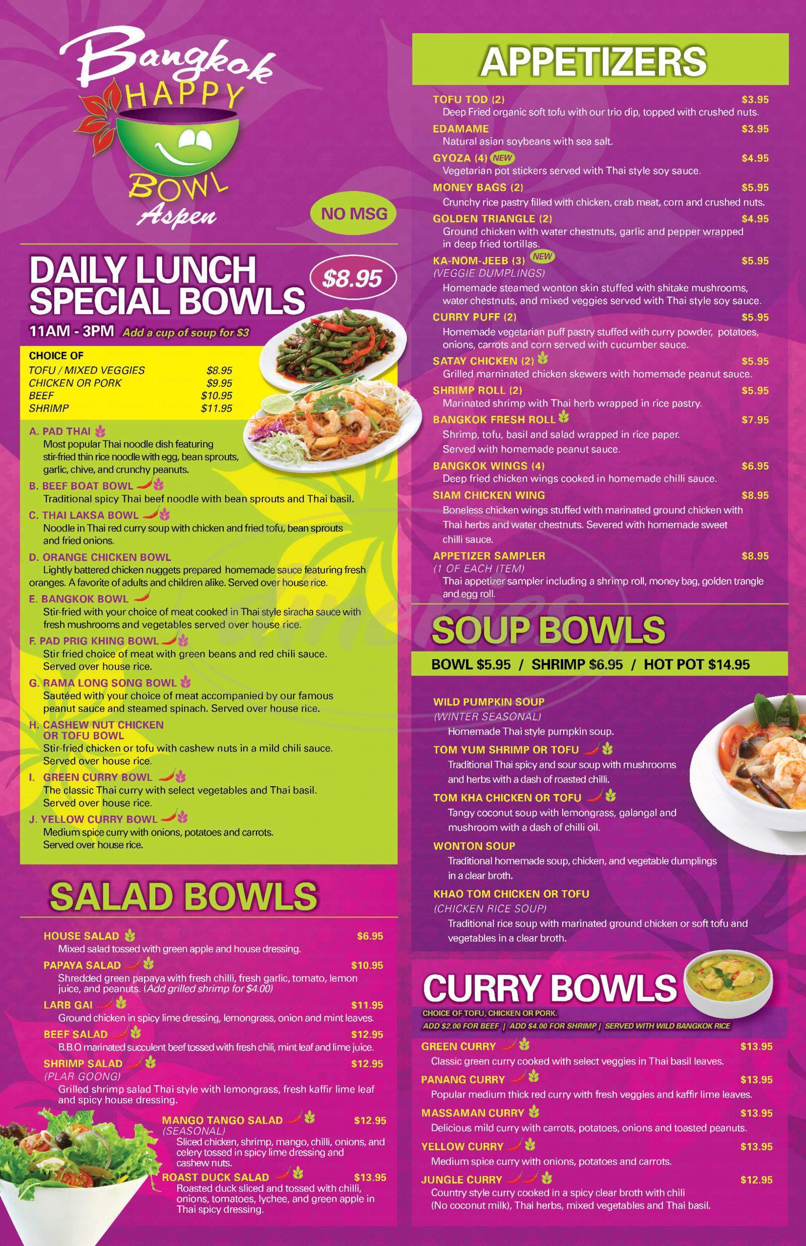 menu for Bangkok Happy Bowl