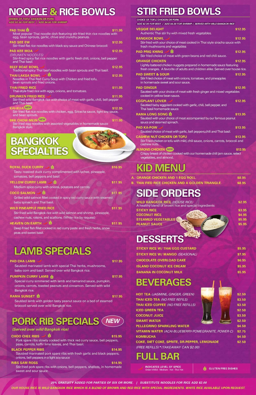 menu for Bangkok Happy Bowl