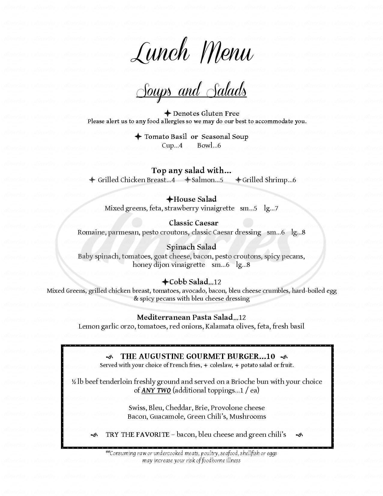 menu for Augustine Grill