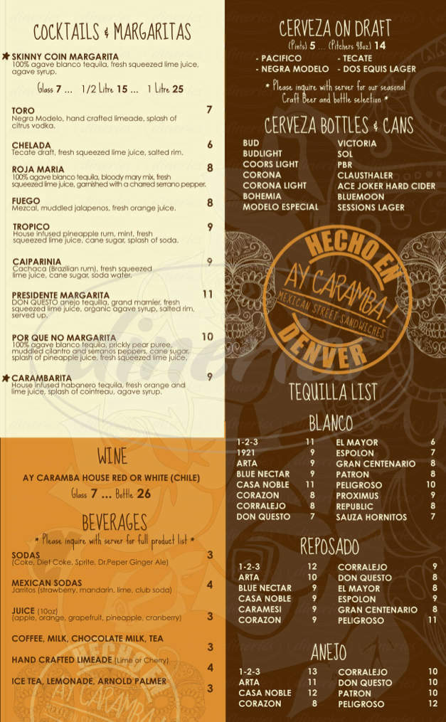 menu for Ay Caramba! Mexican Street Sandwiches