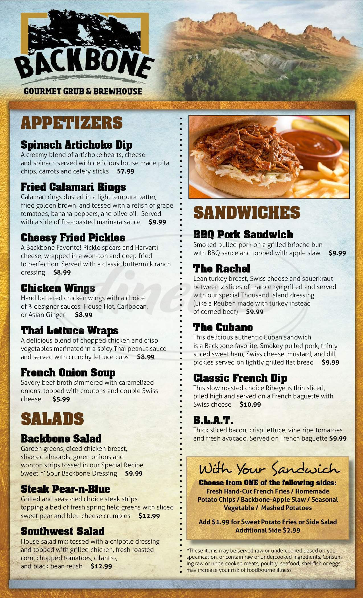 menu for Backbone Gourmet Grub & Brewhouse