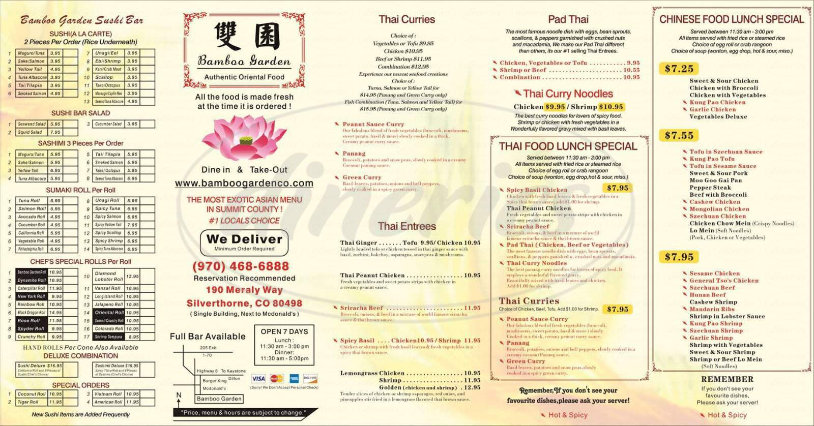 menu for Bamboo Garden