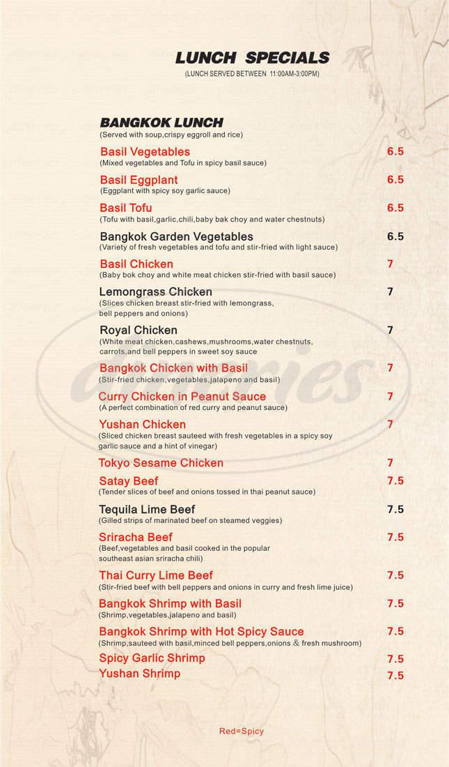 menu for Bangkok Tokyo