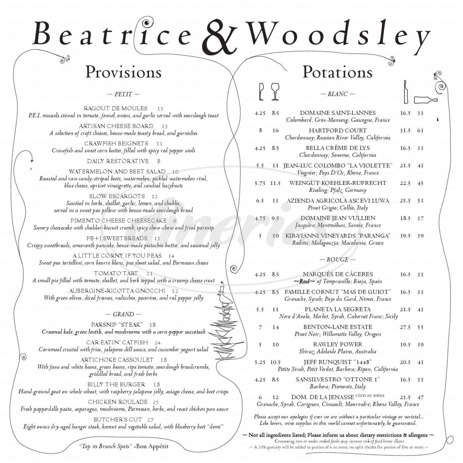 menu for Beatrice & Woodsley