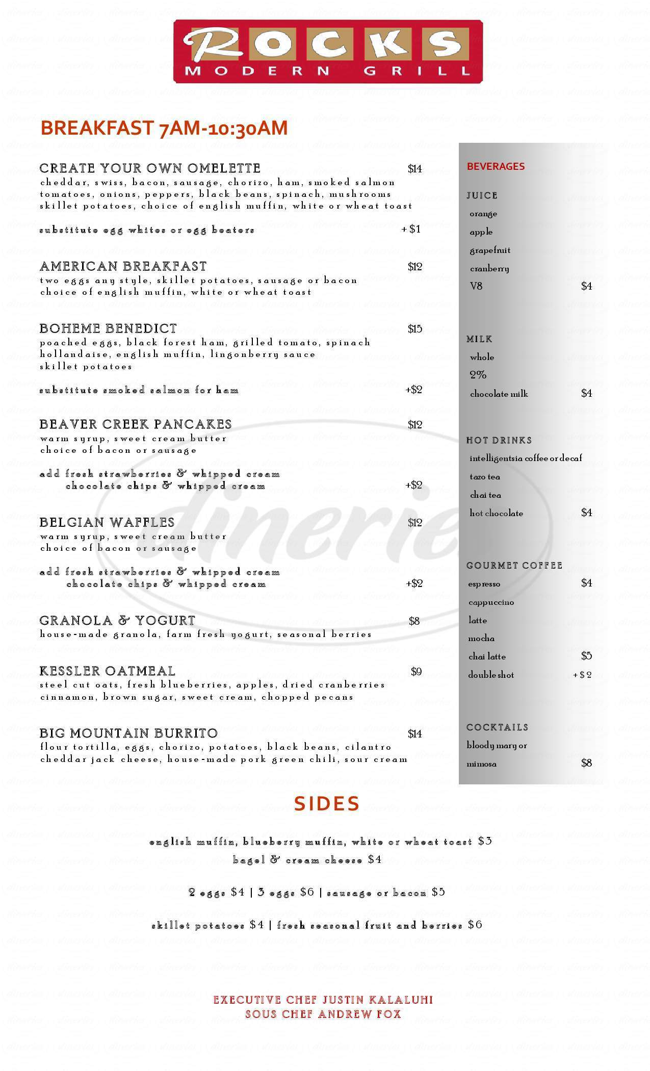 menu for Rocks Modern Grill
