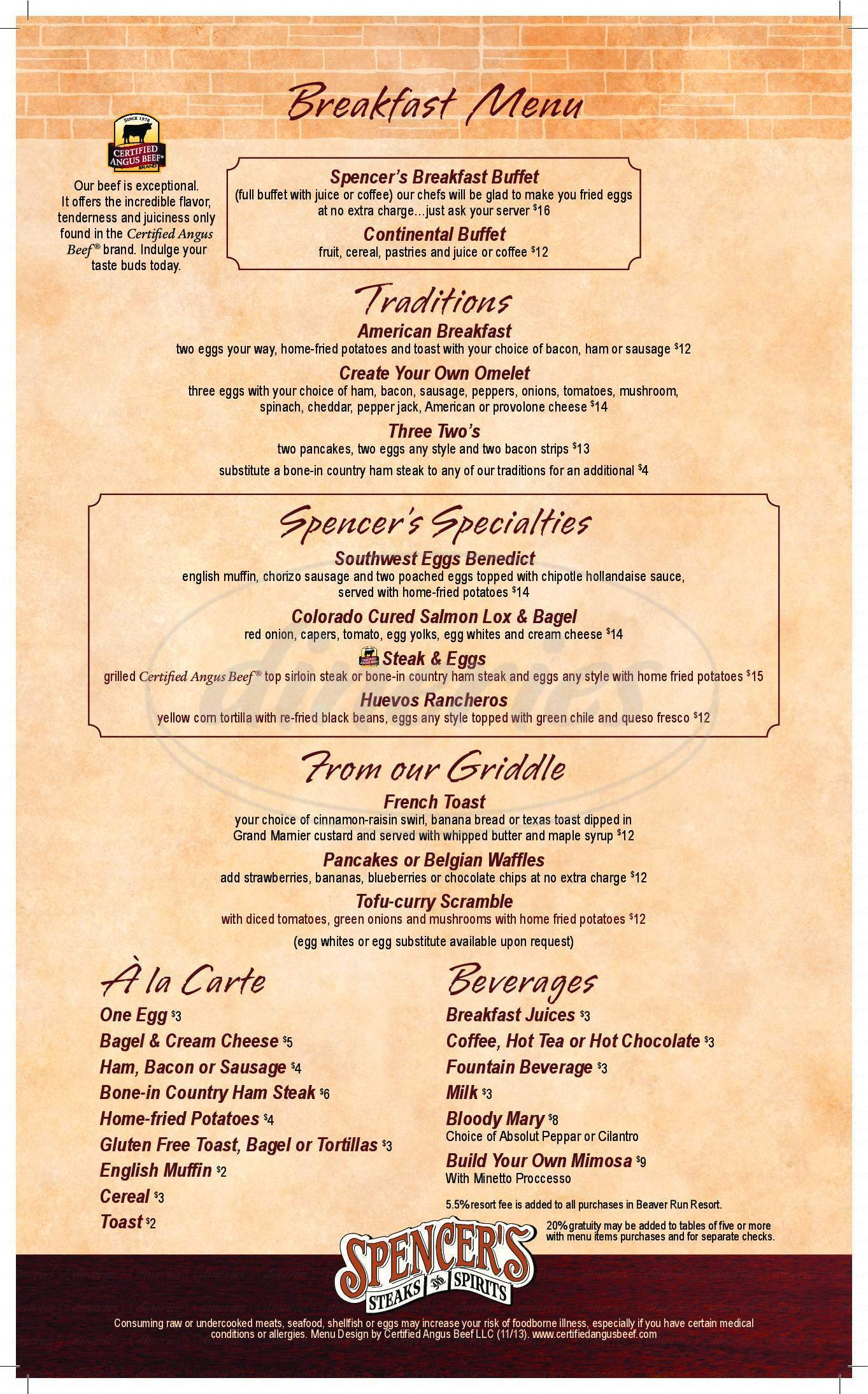 menu for Spencer's Restaurant