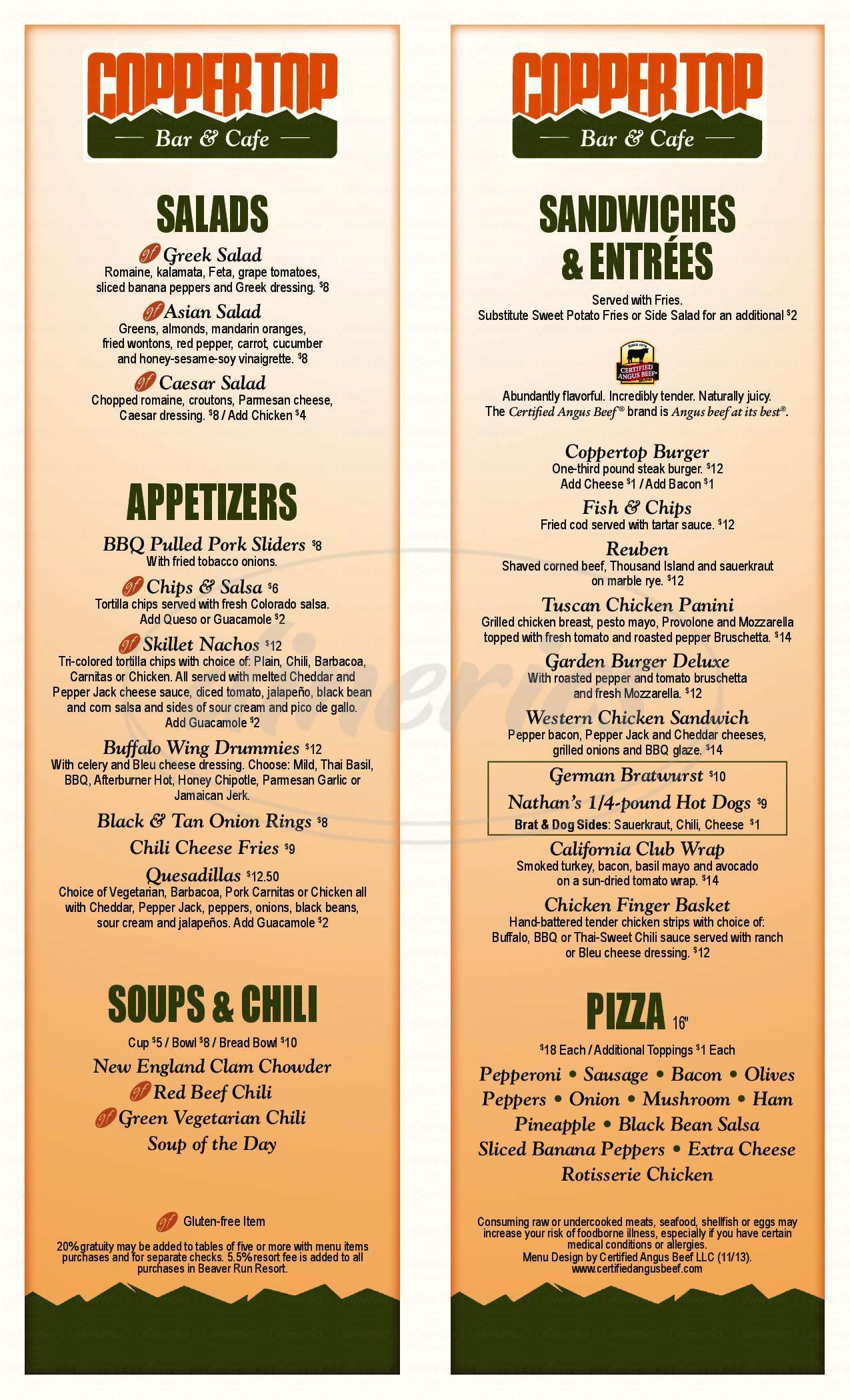 menu for Coppertop Bar and Cafe