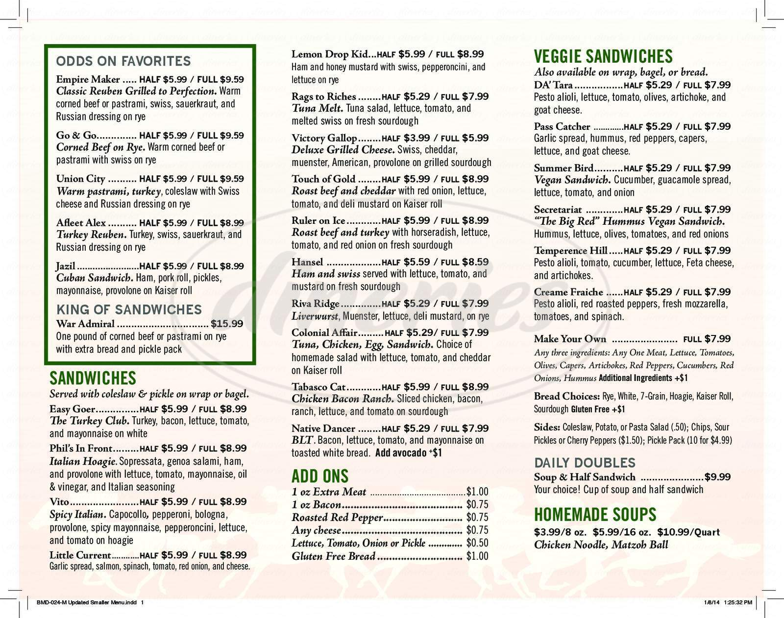 menu for Belmont Deli