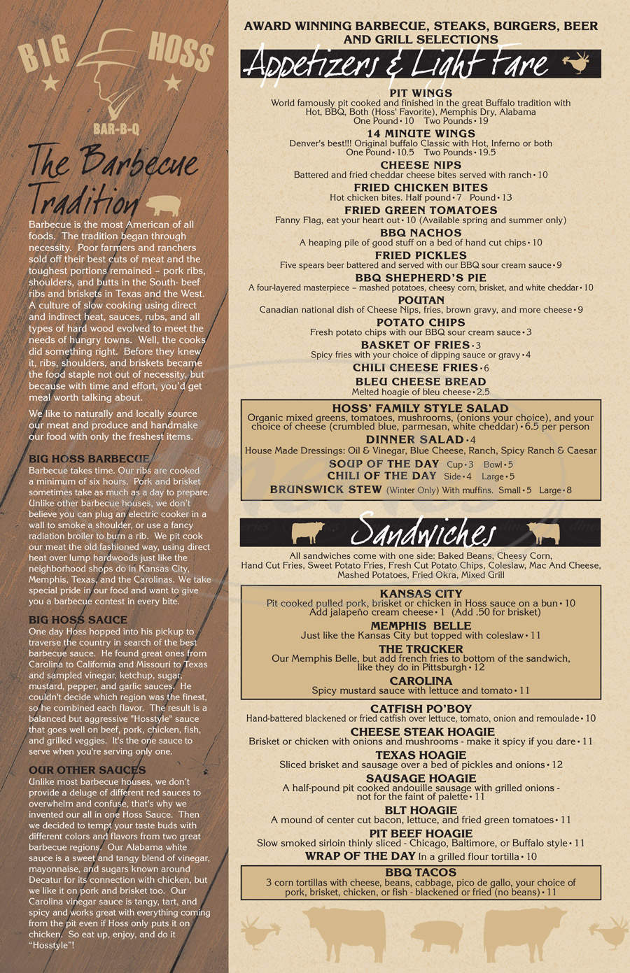 menu for Big Hoss BBQ & Steakhouse
