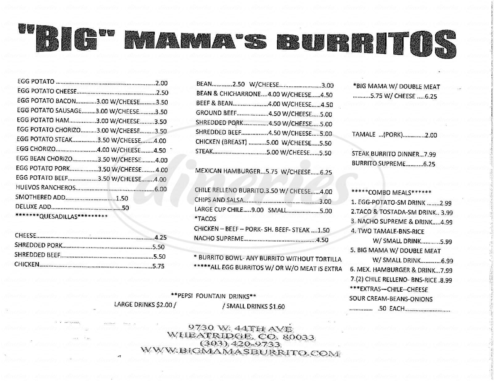 menu for Big Mama's Burritos