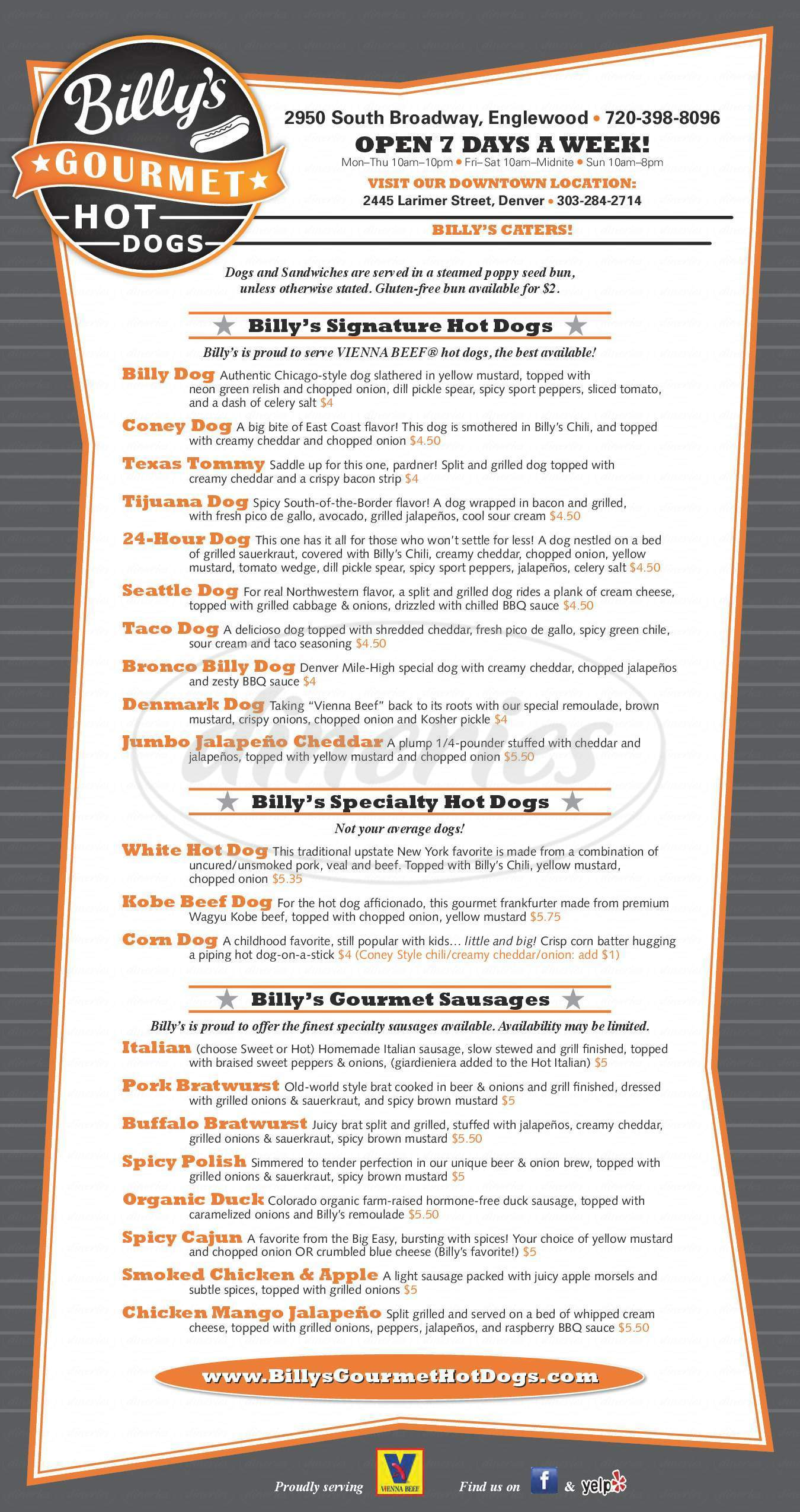 menu for Billy's Gourmet Hot Dogs