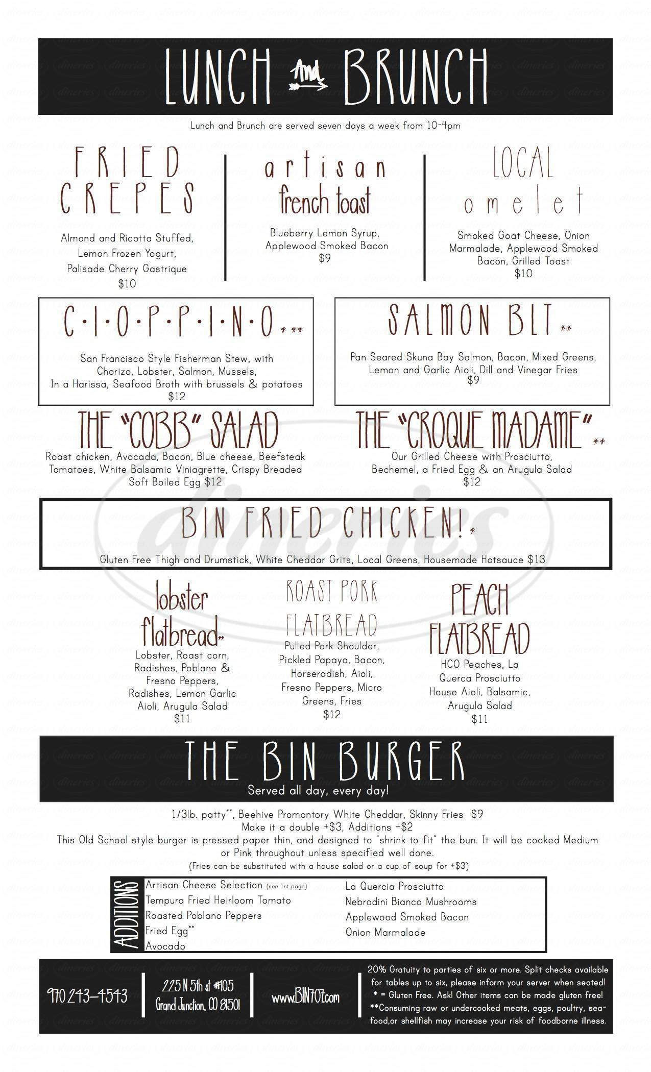 menu for Bin 707 Foodbar