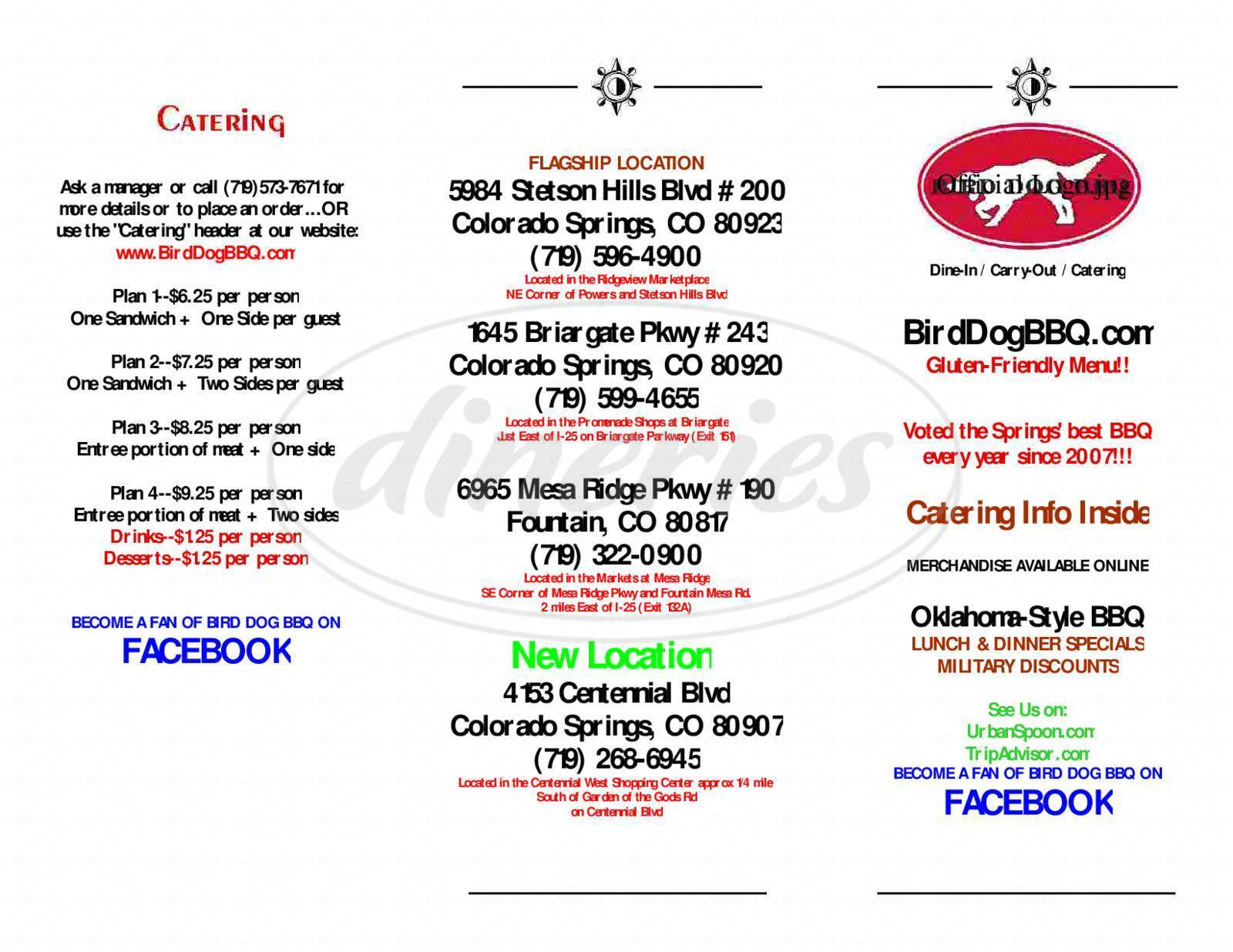 menu for Bird Dog BBQ