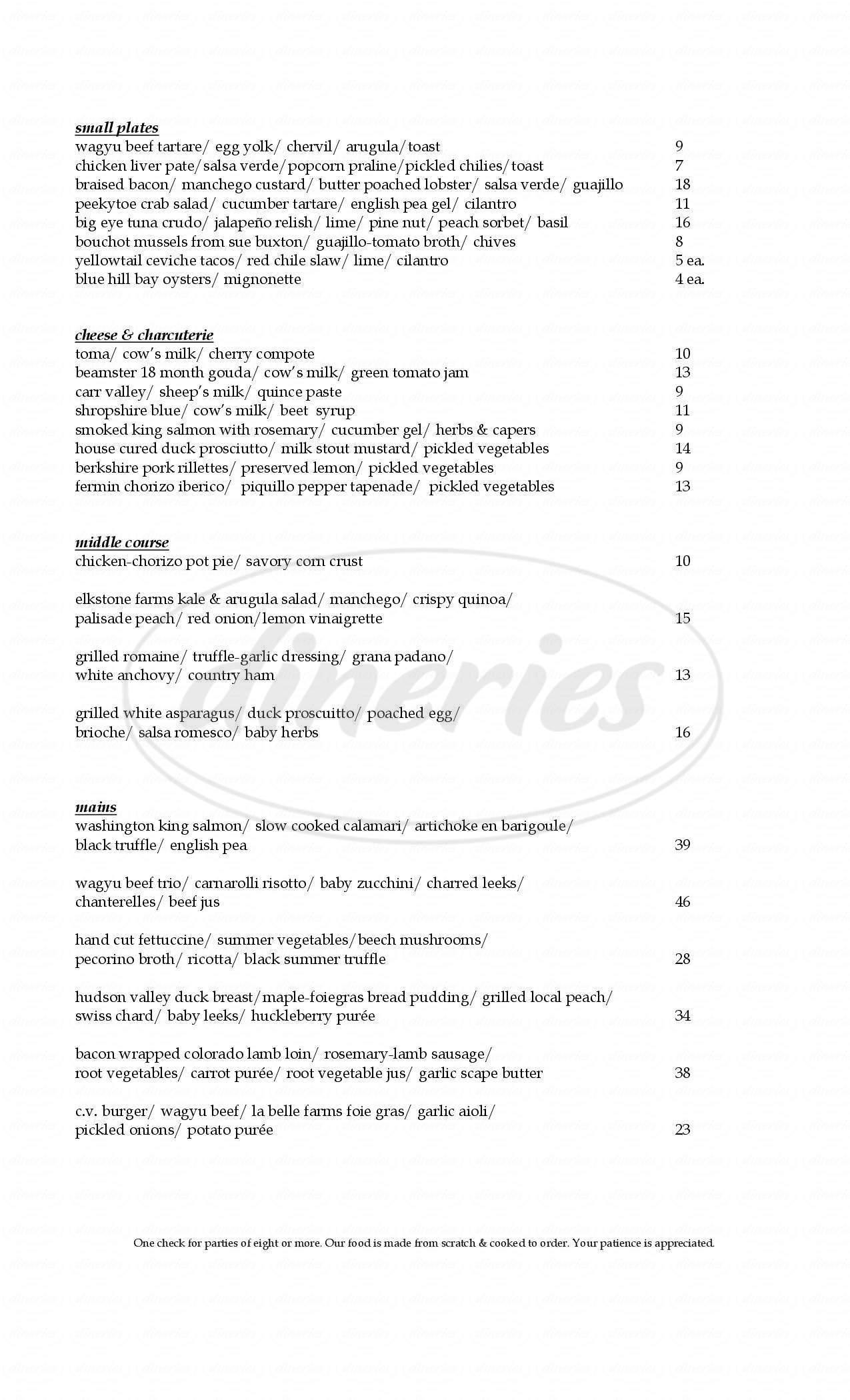 menu for Bistro C.V.