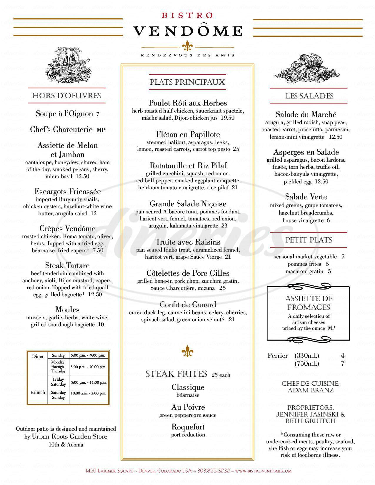 menu for Bistro Vendôme