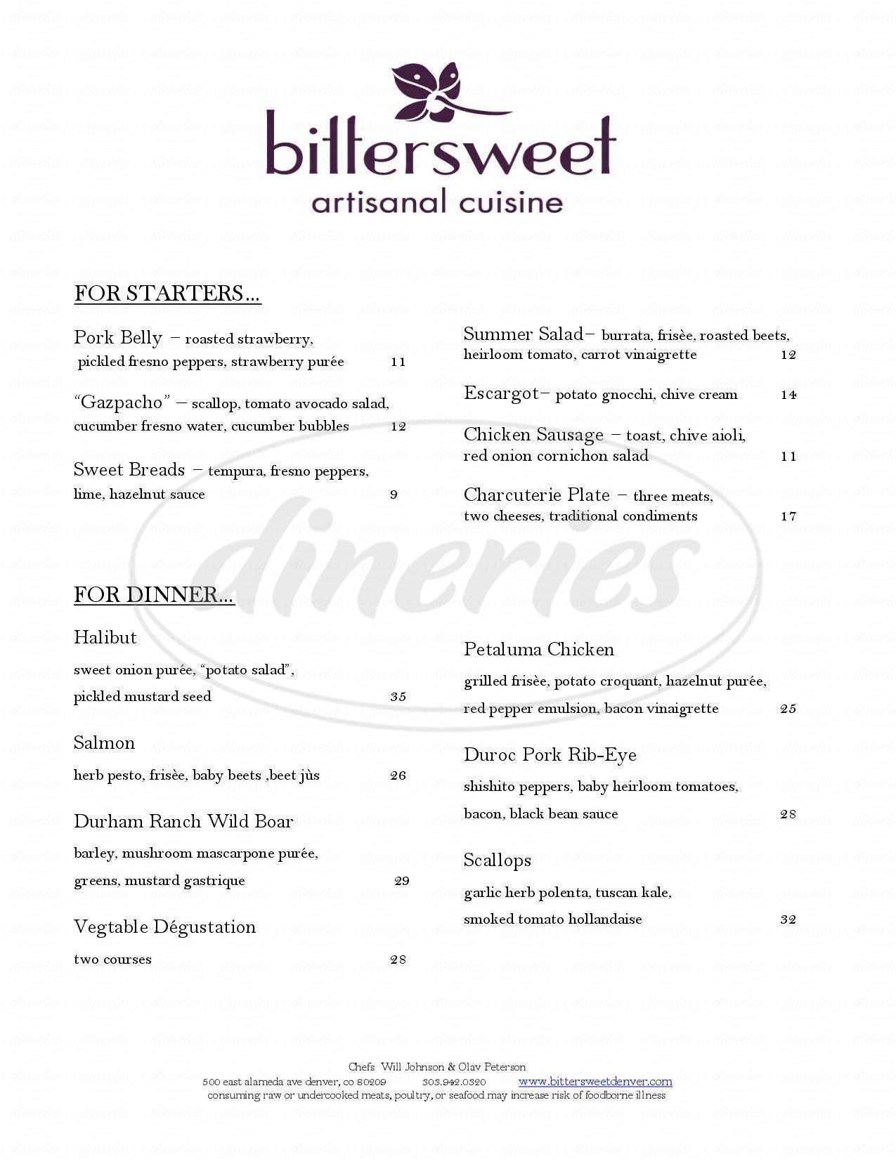 menu for Bittersweet Artisanal Cuisine