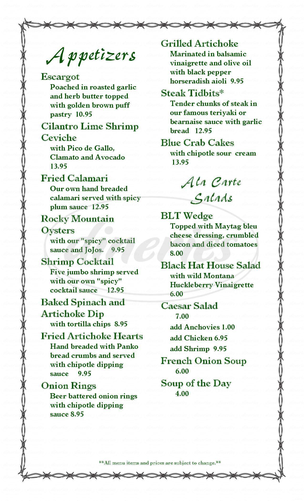 menu for Black Hat Cattle Company