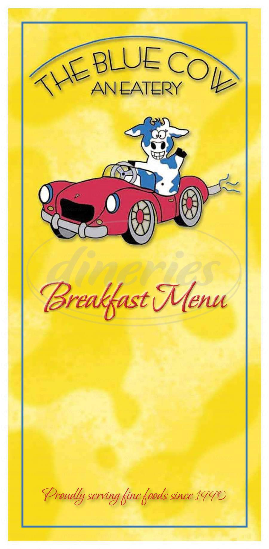 menu for The Blue Cow
