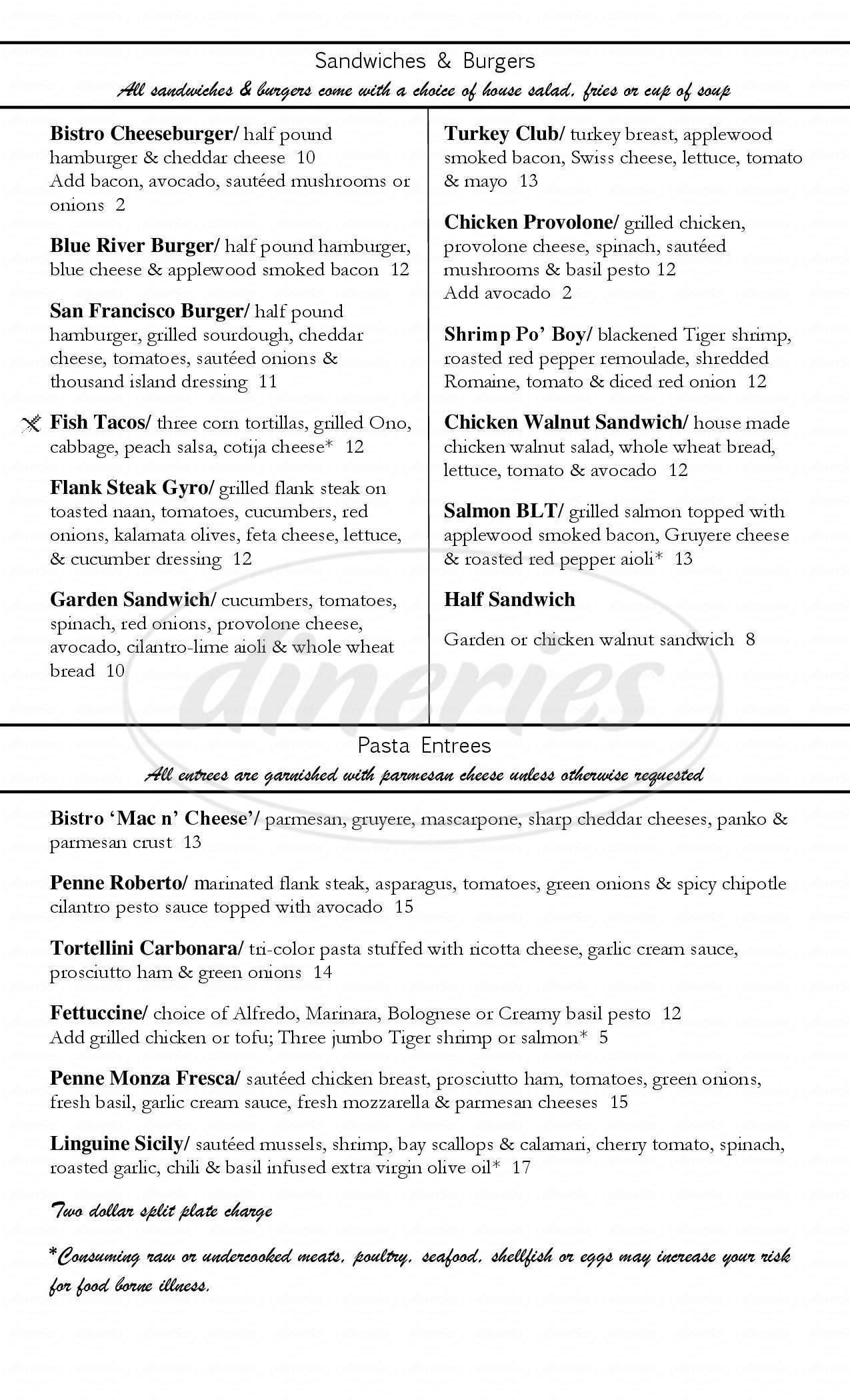 menu for Blue River Bistro