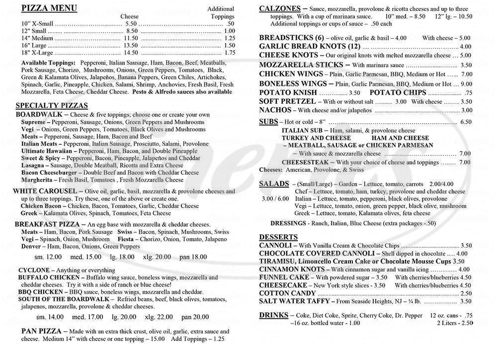 menu for Boardwalk Pizzeria