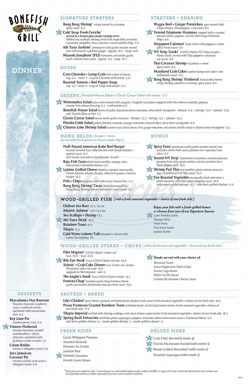 menu for Bonefish Grill