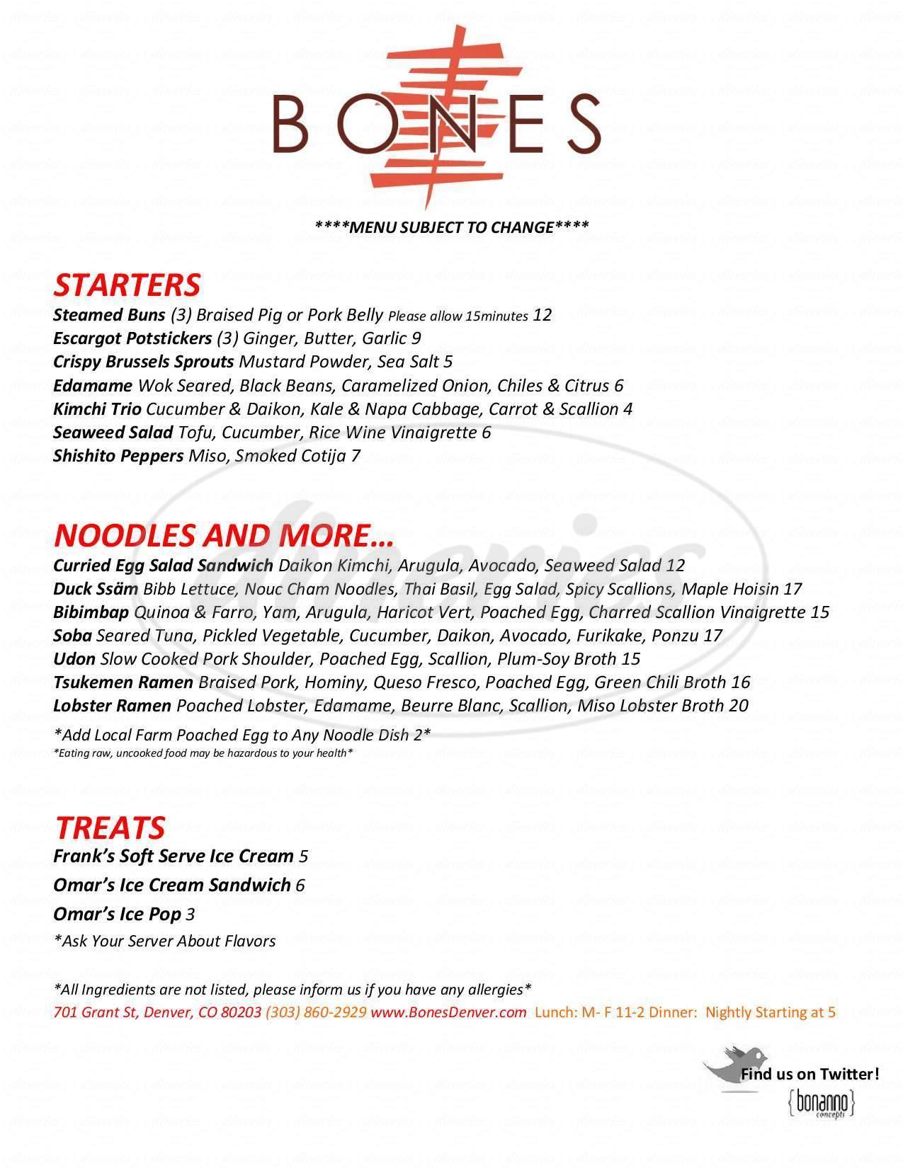 menu for Bones