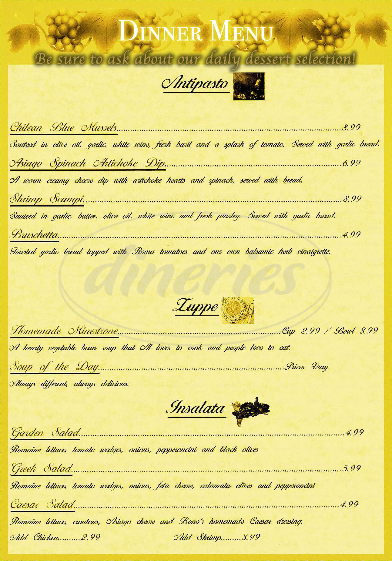 menu for Bono's Italian Takeout