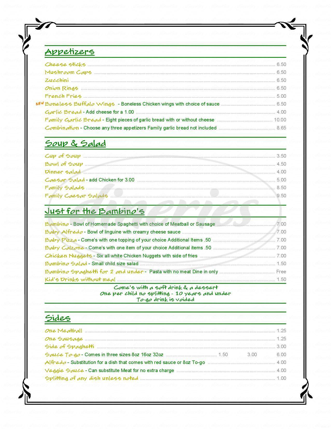 menu for Bova's Italian Restaurant