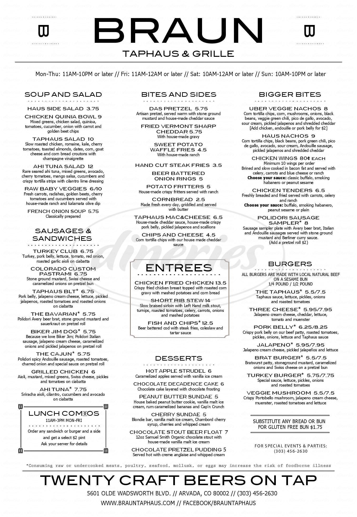 menu for Braun's Taphaus & Grille