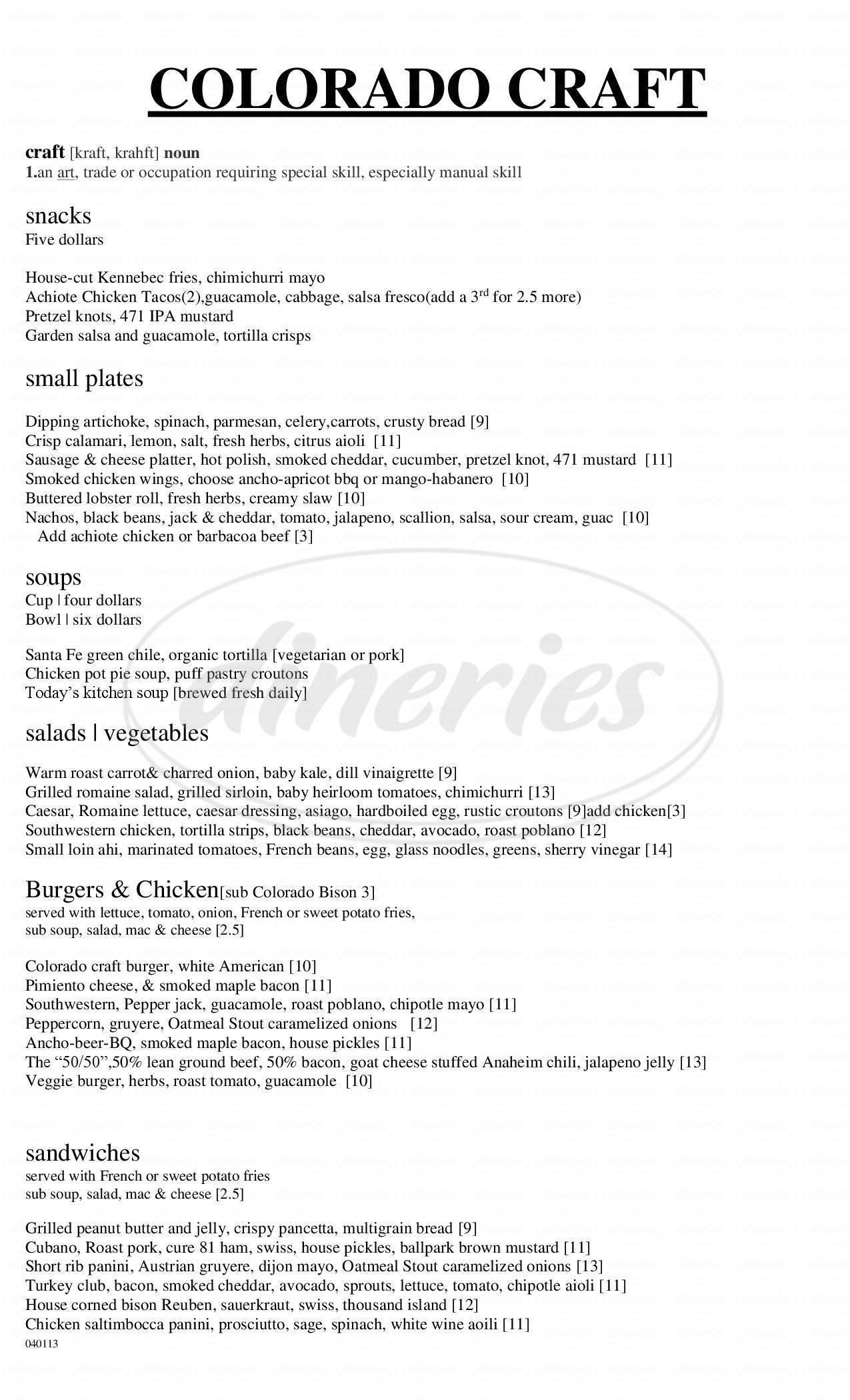 menu for Breckenridge Brewery