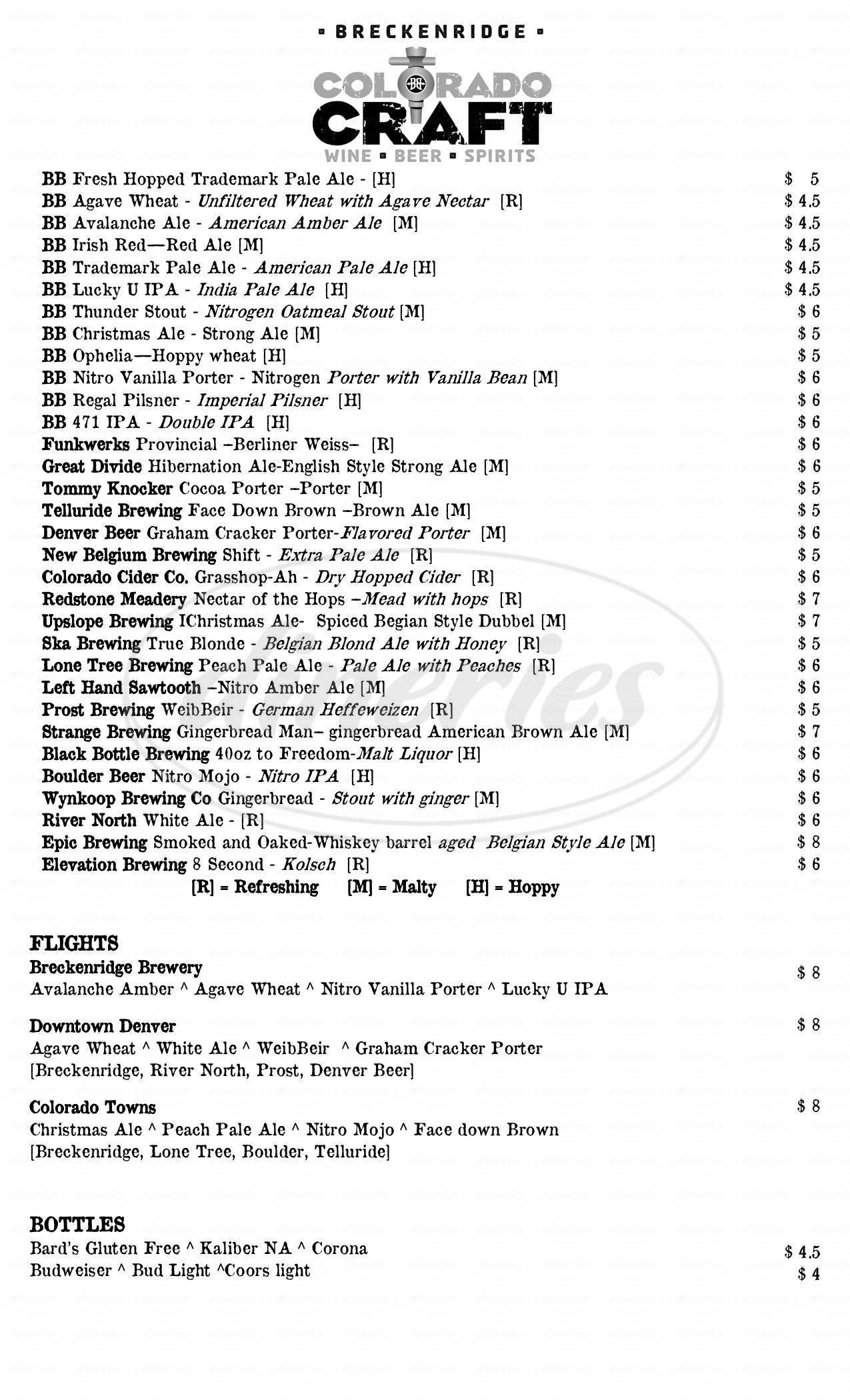 menu for Breckenridge Brewery