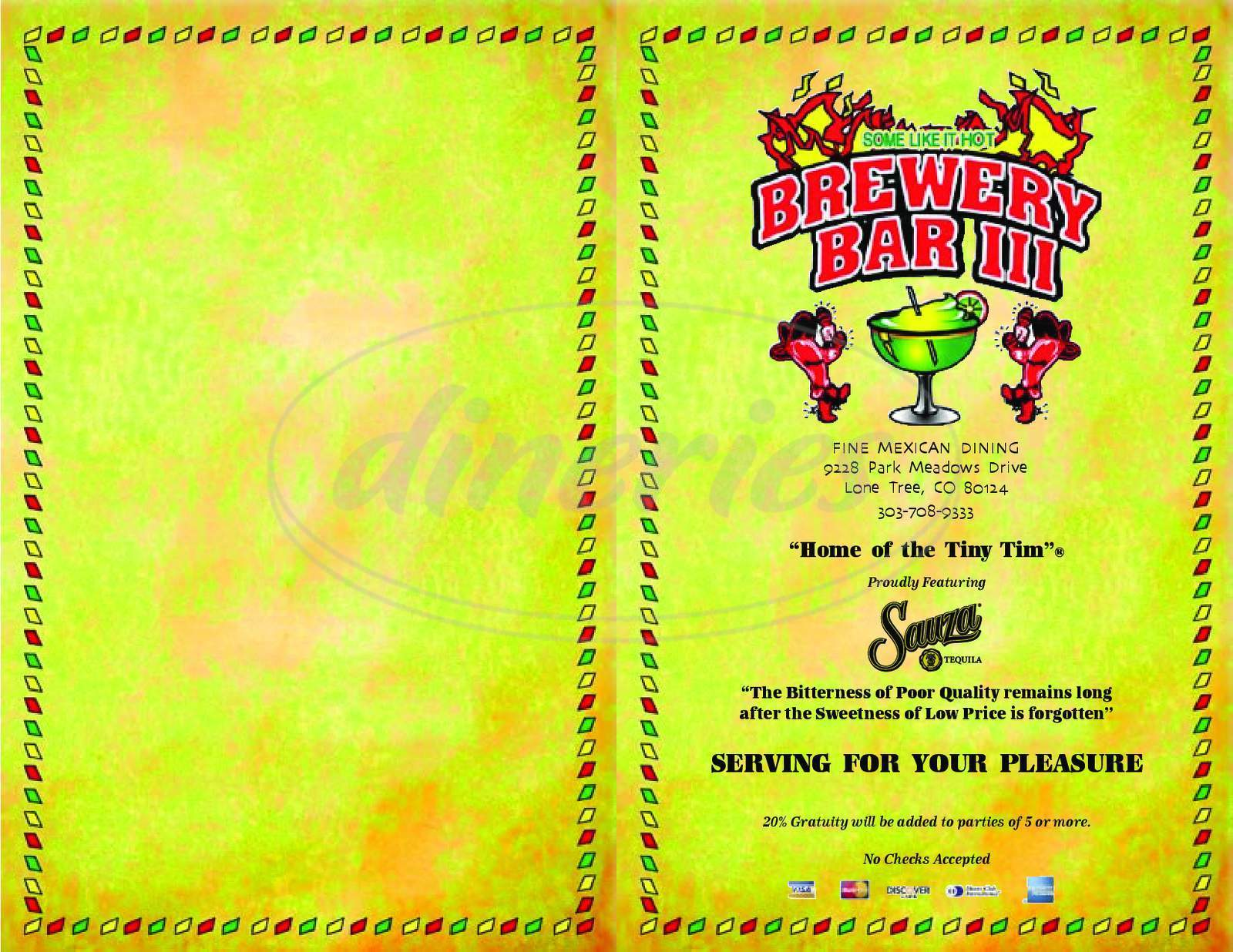 menu for Brewery Bar III
