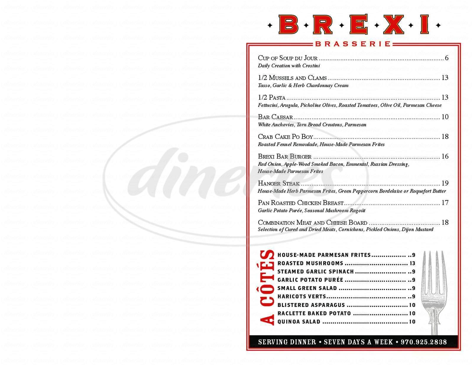 menu for Brexi Brasserie